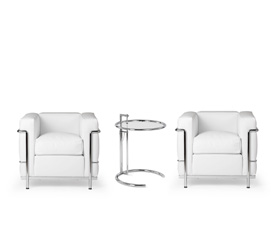 LC2 armchairs + Adjustable table- Le Corbusier