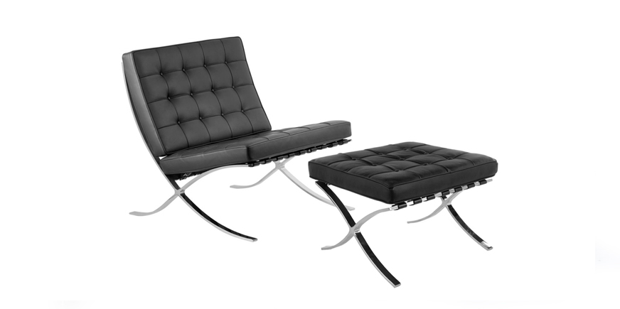 Barcelona Chair and stool - Ludwig Mies van der Rohe - 1929