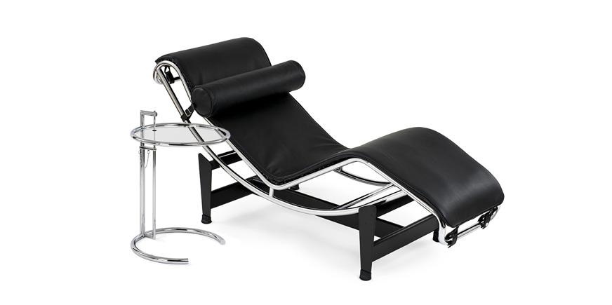 Lc4 liege corbusier chaiselongue glastisch eileen gray for Corbusier nachbau
