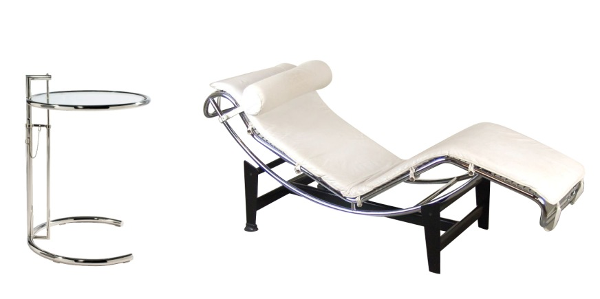 Lc4 chaise longue van le corbusier adjustable table for Chaise longue le corbusier vache