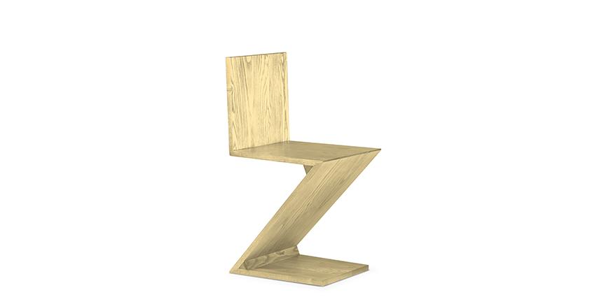 zig zag stoel van gerrit thomas rietveld. Black Bedroom Furniture Sets. Home Design Ideas