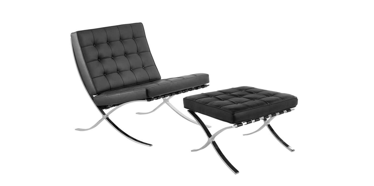 stockware sales barcelona chair and stool by ludwig mies van der rohe. Black Bedroom Furniture Sets. Home Design Ideas