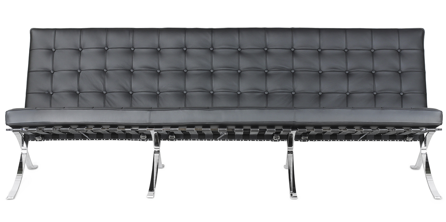 barcelona three seater sofa mies van der rohe. Black Bedroom Furniture Sets. Home Design Ideas