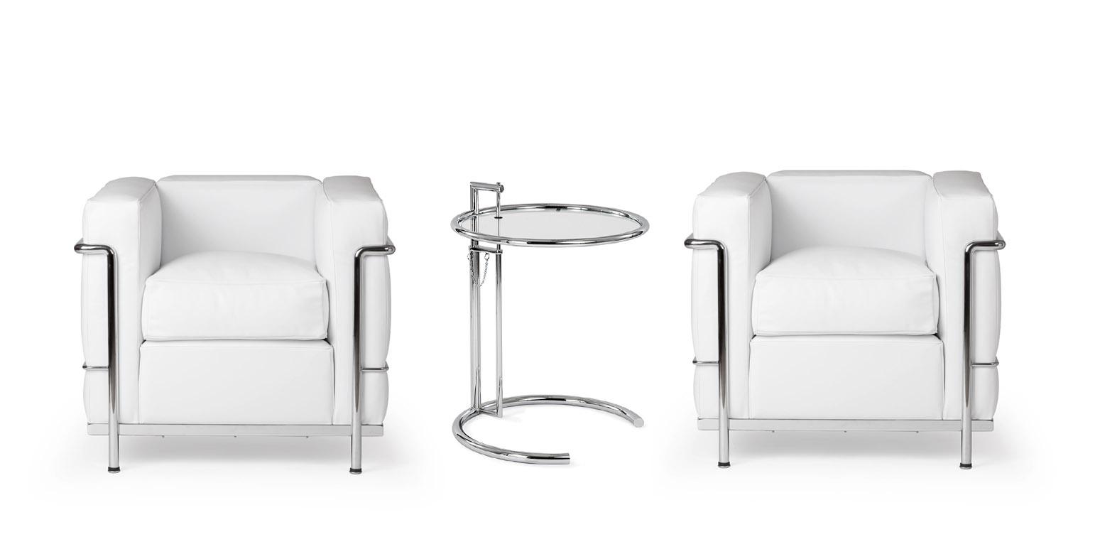 2 x sill n lc2 por le corbusier mesa ajustable for Mesa cristal le corbusier