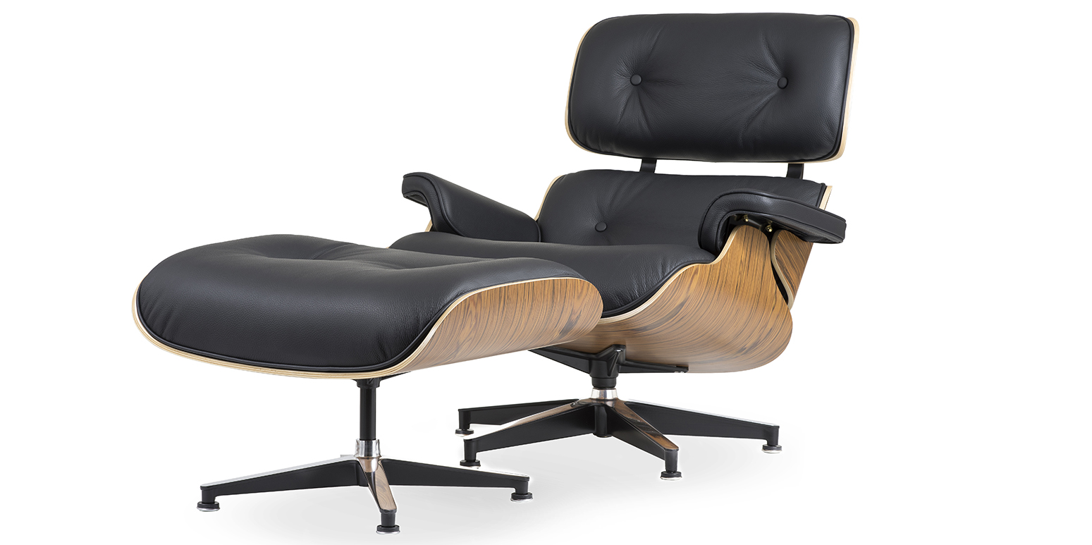 Replica lounge chair and ottoman for Fauteuil bois eames
