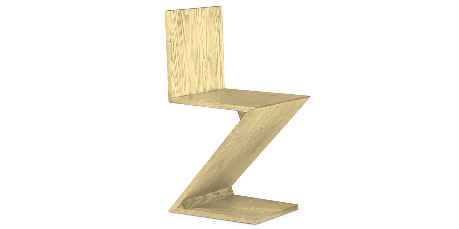 zig zag chair by gerrit thomas rietveld. Black Bedroom Furniture Sets. Home Design Ideas